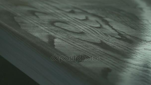 Möbelplatten werden mit der Spritzpistole lackiert. Mann bemalt Holzbrett mit Spritzpistole.