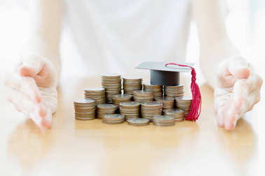 Woman Education coins concept