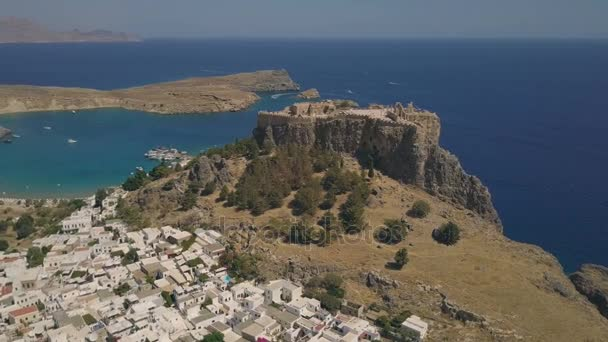 Aerial view of ancient Acropolis and village of Lindos