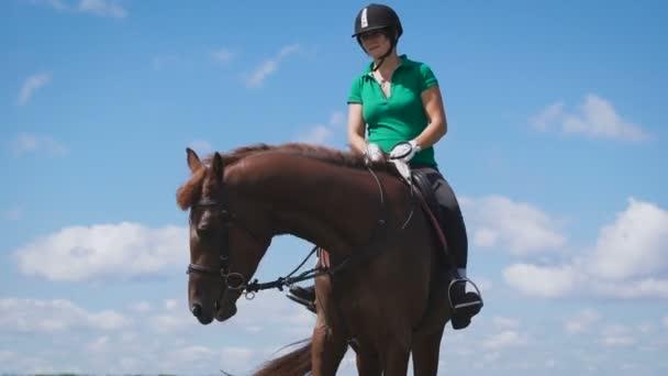 junge Frau auf dem Pferd auf der grünen Wiese