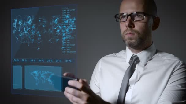 Future work with finance and macro economy. Businessman working with an interactive holographic screen. smartphone management