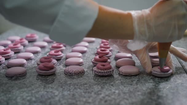 Candy store. Dekorace z francouzské makronky. Pracovníka cukrárnu v rukavice přidá smetana a bobule připravený moučník. Tak zdobení dezert. Dezert se ukázalo růžovo-fialova