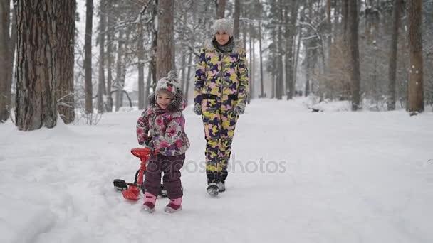 glückliche Familie von Mutter und kleiner Tochter, die zusammen in der winterlichen Natur draußen im Wald spielen. Mädchen joggt auf dem Weg und zieht ihren roten Schlitten mit. junge Frau folgt ihrem Kind leicht.