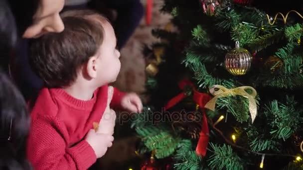 Mladá matka drží v náručí svého chlapečka pomáhá dítě zdobit vánoční strom, chlapec chytá jehla táta stojí vedle své manželky a syna varuje, že není jeho stojí za to, pozor