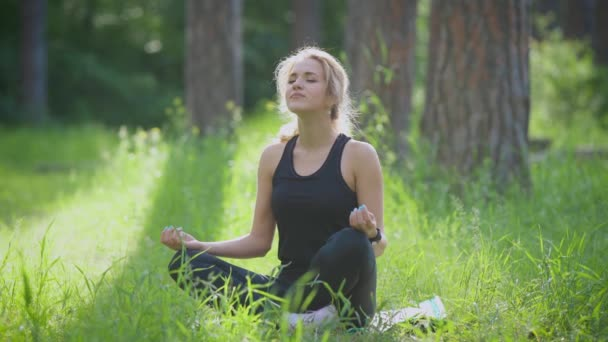 Mladá žena sedí v lotosové pozici na zelené louce v parku