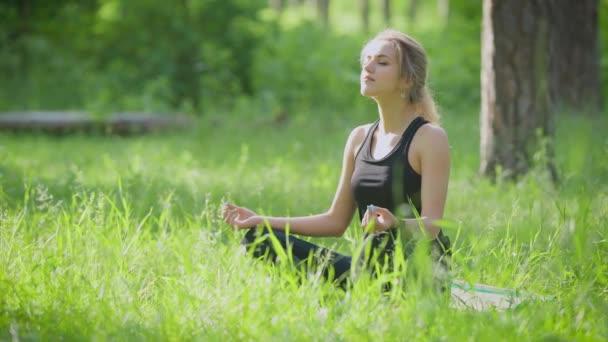 Klid sportive žena užívat slunce v jóga představuje na trávníku