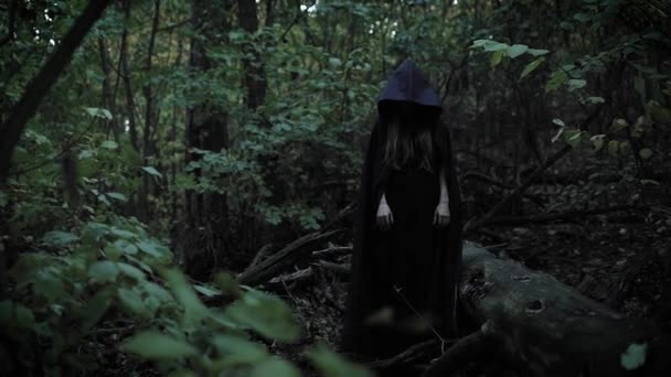 terrible sorceress is standing without movement in a forest, then dramatically raise her hand and shaking it