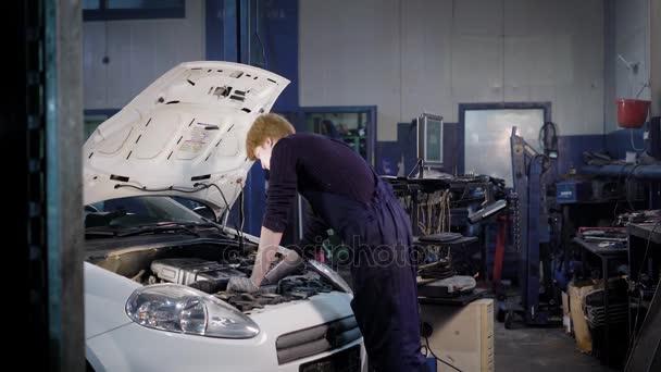 Diagnostika automobilů během kontroly a zadávání dat do počítače v autoservis automechaniků