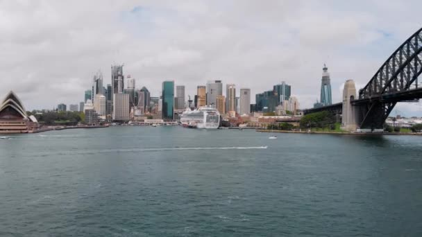 View of Sydney from the bay. Australias main city with its skyscrapers, opera and port.