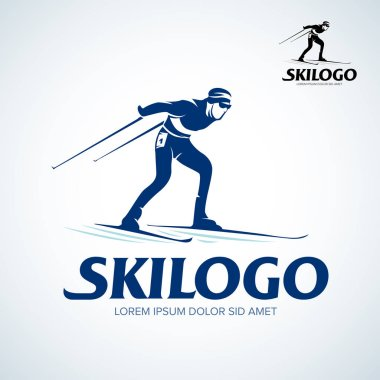skier logo, illustration