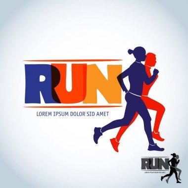 Run logo template. Sport logotype template