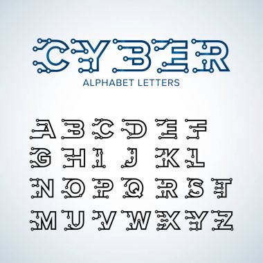 Cyber Techno type font alphabet. Digital hi-tech style letters, numbers and symbols.