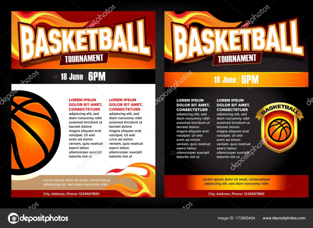 Basketball-Turnier Plakate, Flyer mit Basketball Ball - Vorlage ...