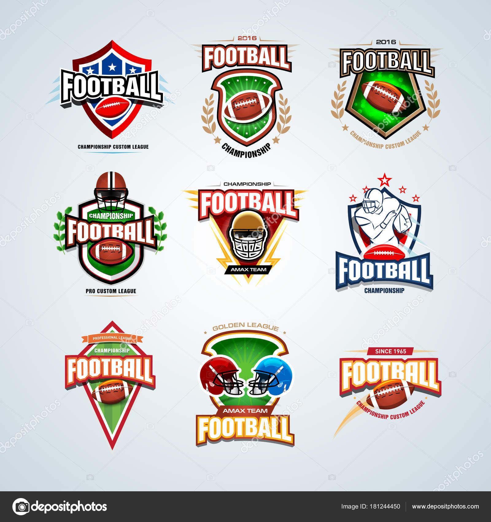 Amerikanischer American Football Logo Vorlagen Gesetzt Abzeichen ...