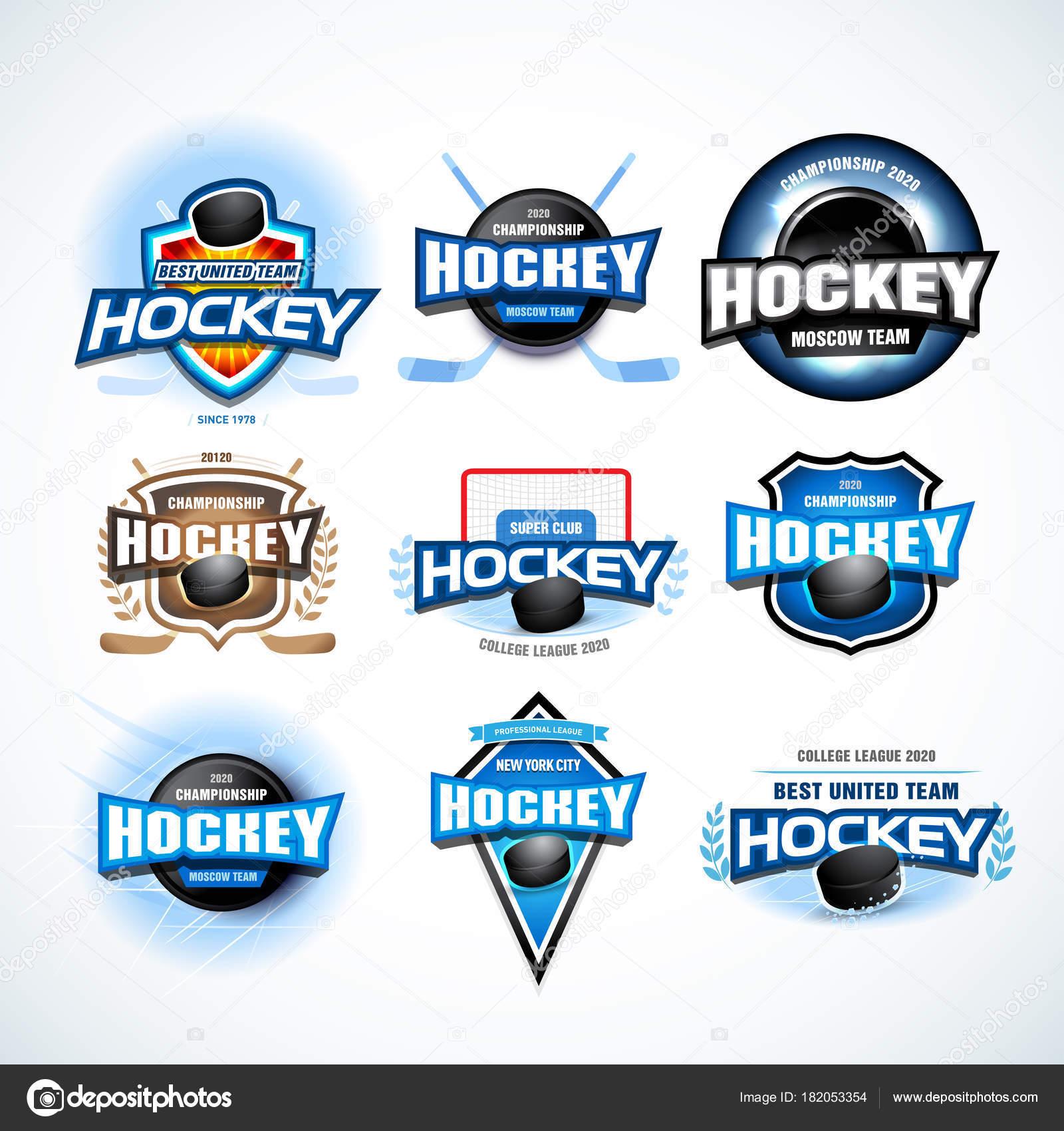 Eishockey Sport Team Logo Vorlagen Festlegen Eishockey Team Logo ...