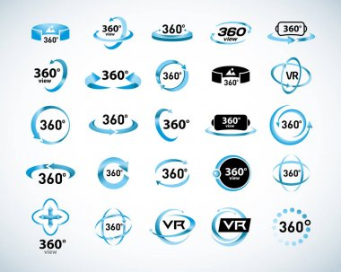 360 Degrees View Vector Icons set. Virtual reality icons. Isolated vector illustrations. Blue Color version.