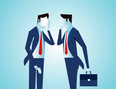 Man talking to a clone of himself. Concept business illustration