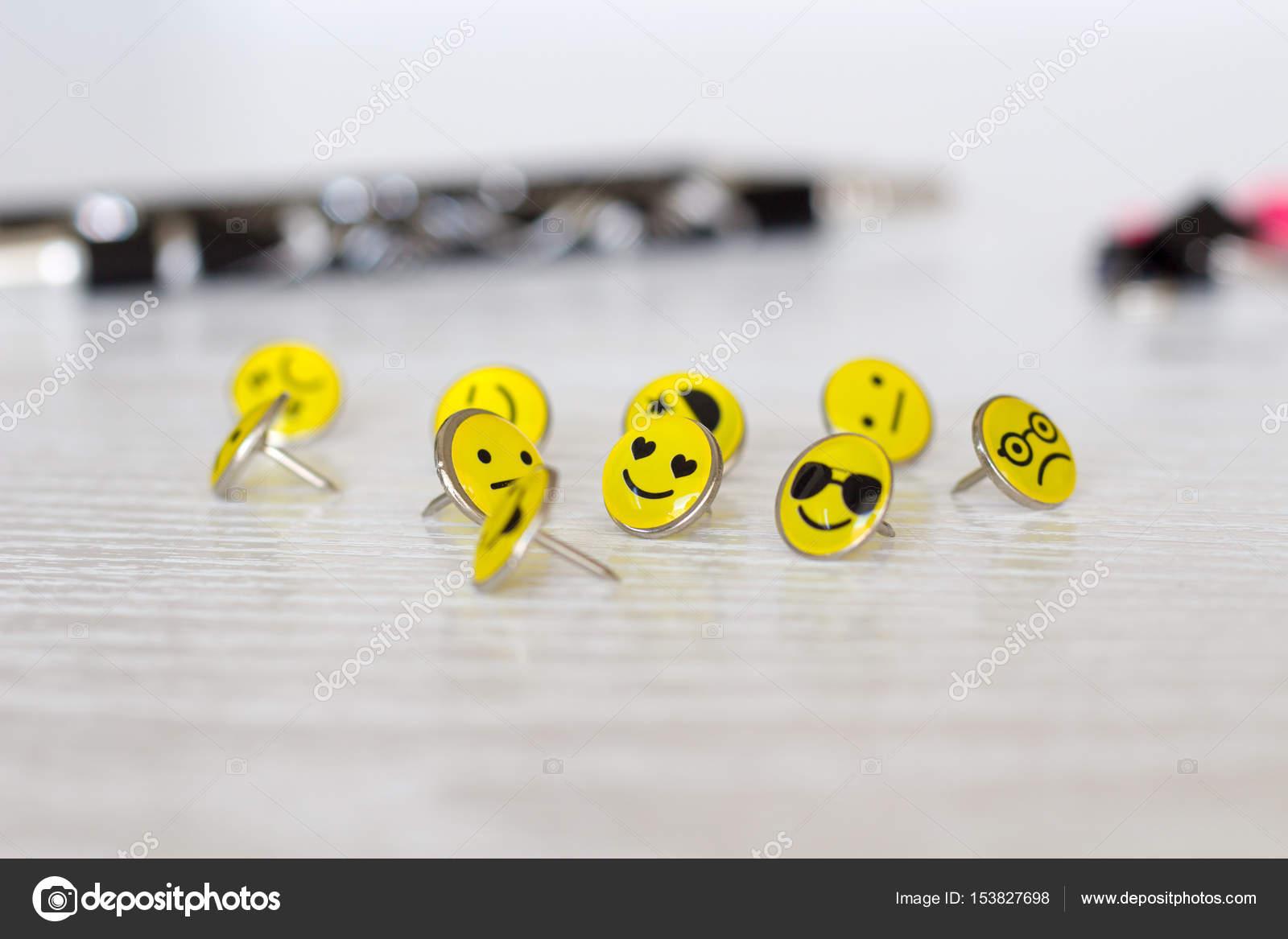 Retro Smiley Face Emoticon Push Pins Stock Photo Majaojstersek