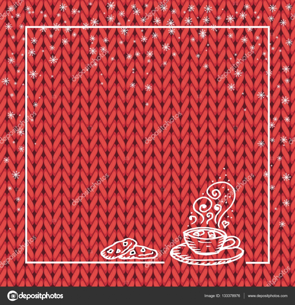Winter holidays template frame with a cup of hot chocolate and snow ...