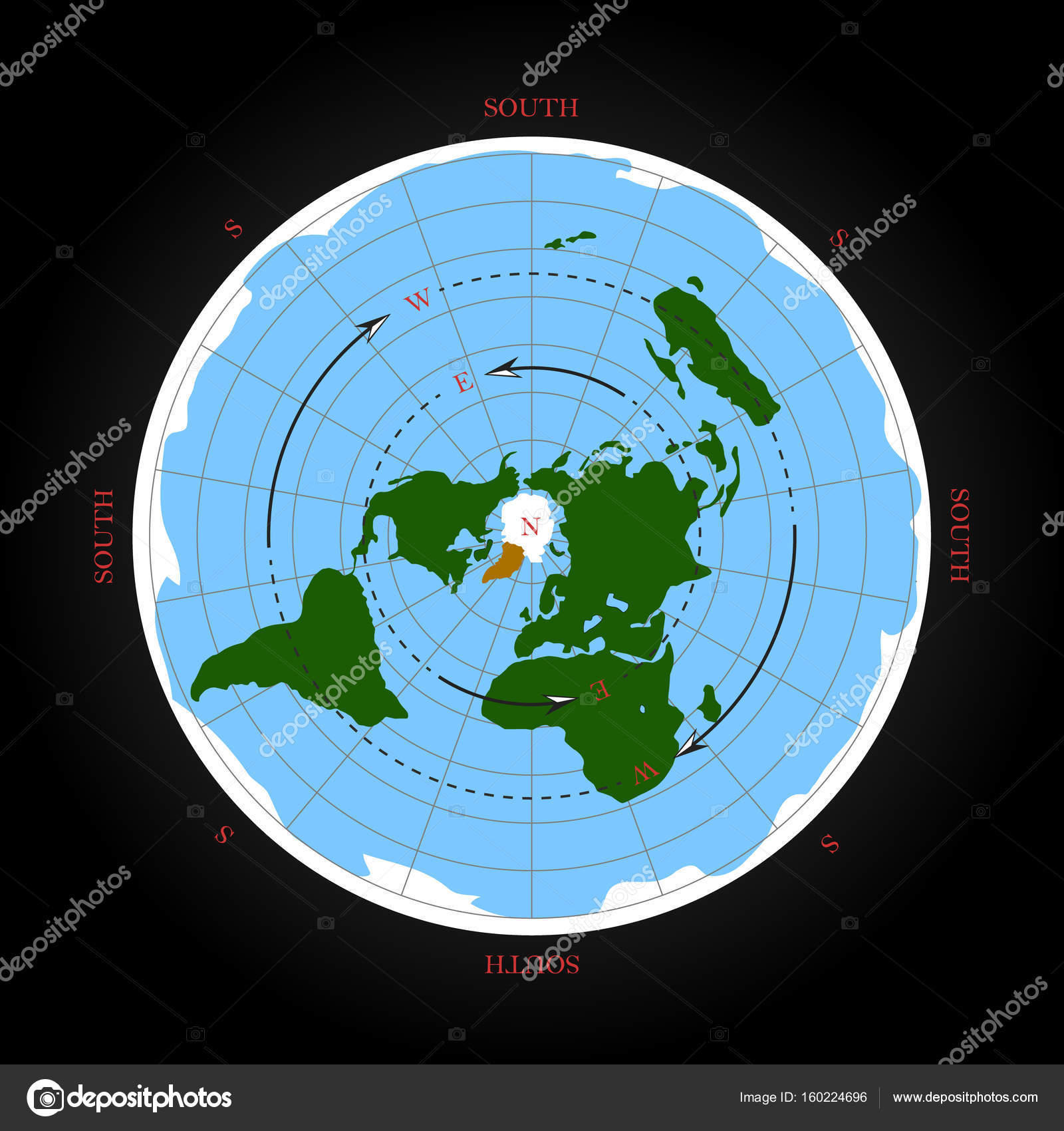 Terra Earth Map.Cardinal Direction On Flat Earth Map Isolated Vector Illustration