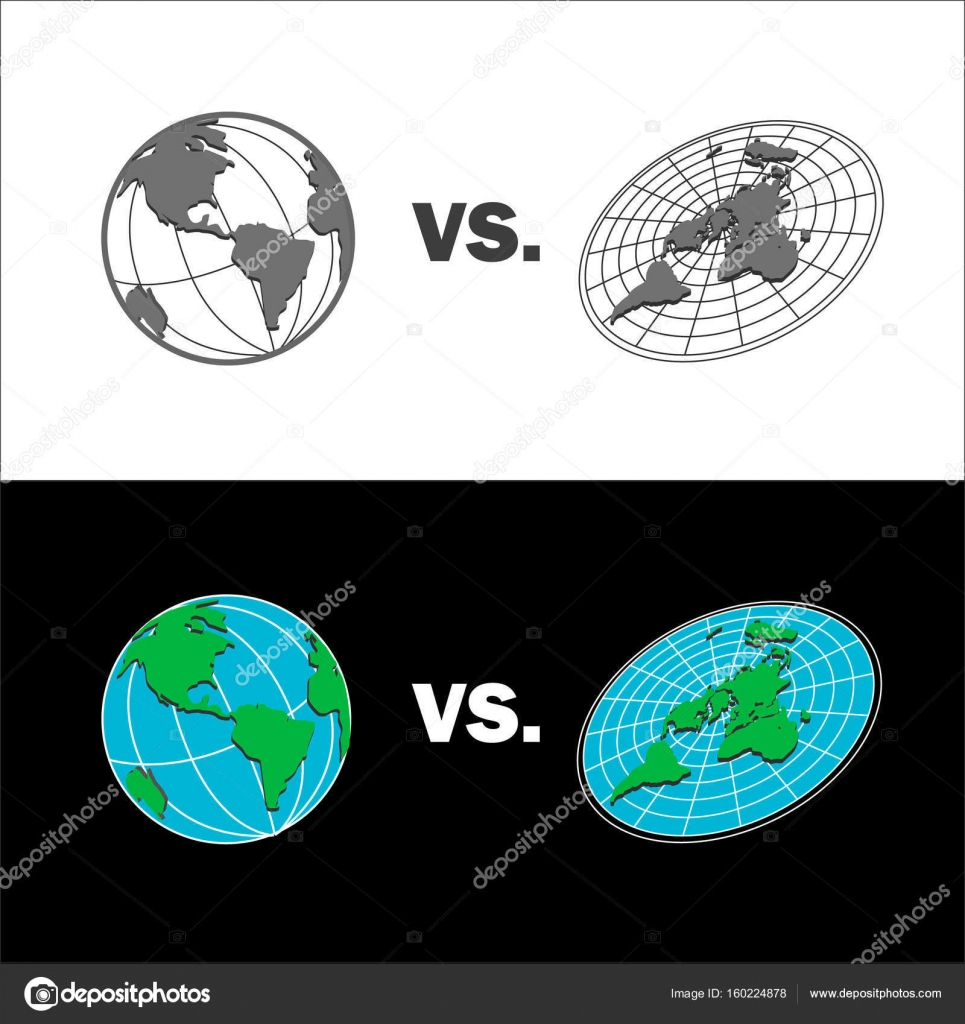 Flat Earth Map Download.Flat Earth Vs Sphere Earth Map Isolated Vector Illustration