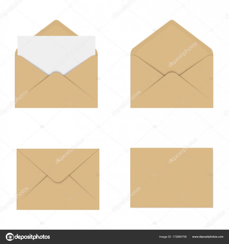 Realistische Braun Modell Umschlag Für Brief Oder Einladung Karte