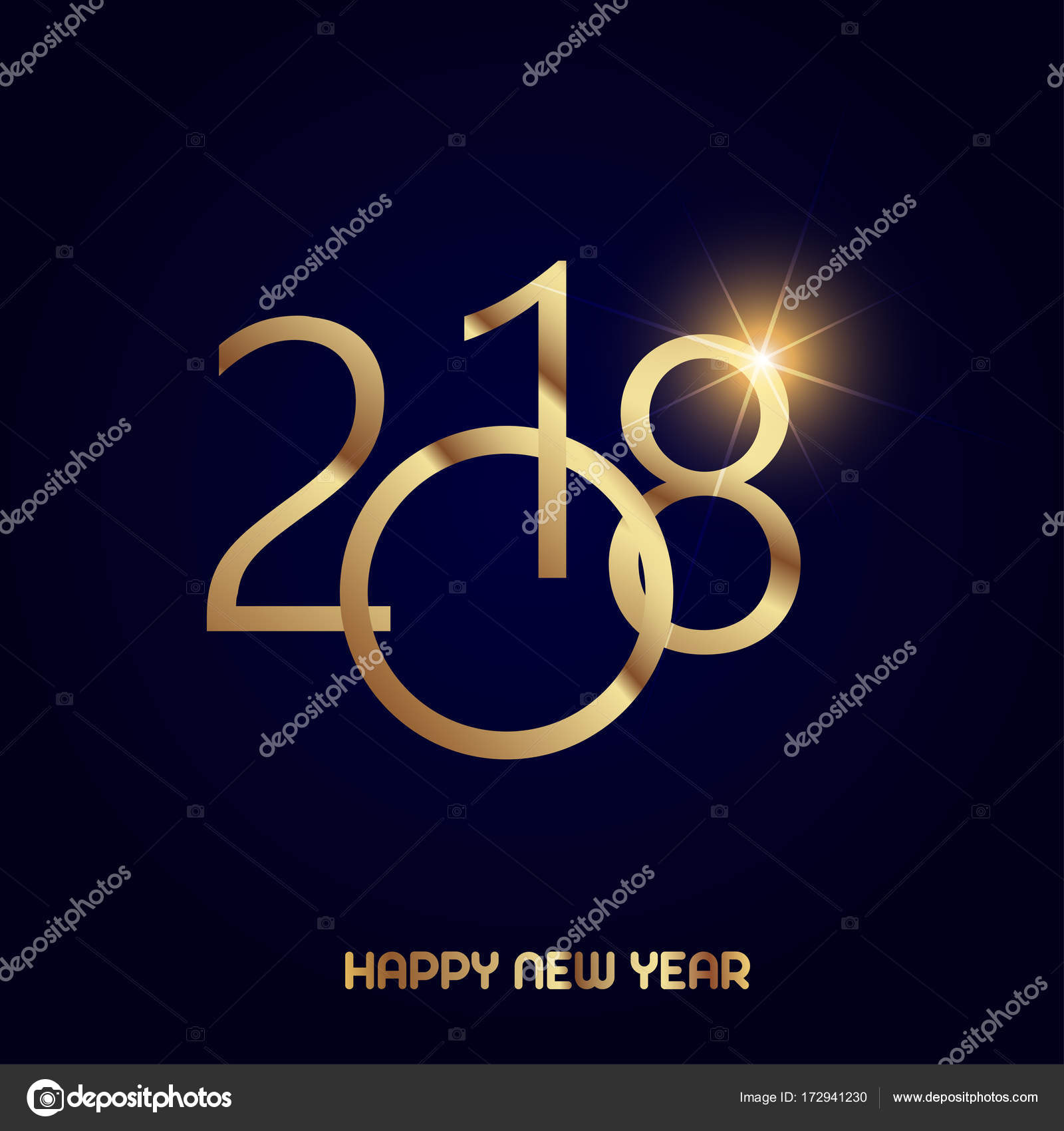 Happy New Year Greeting Card With Shining Gold Text On Black