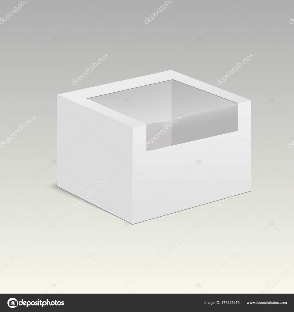 Product Cardboard Plastic Package Box With Window Vector Mock Up