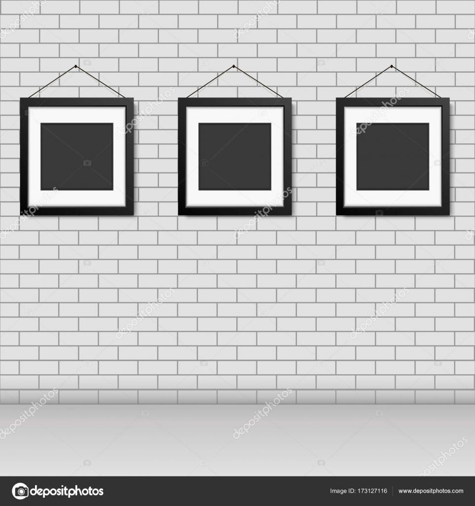 Marco en blanco vector realista de colgar en la pared de ladrillo ...