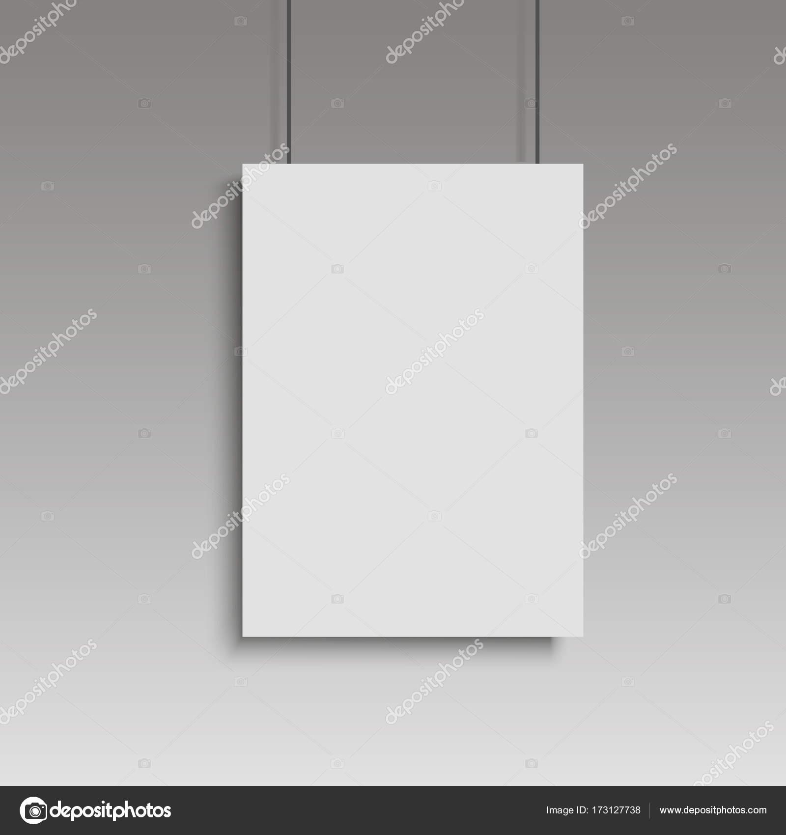 Weißes Plakat mit schwarzem Rahmen mock-up auf graue Wand. Vektor ...