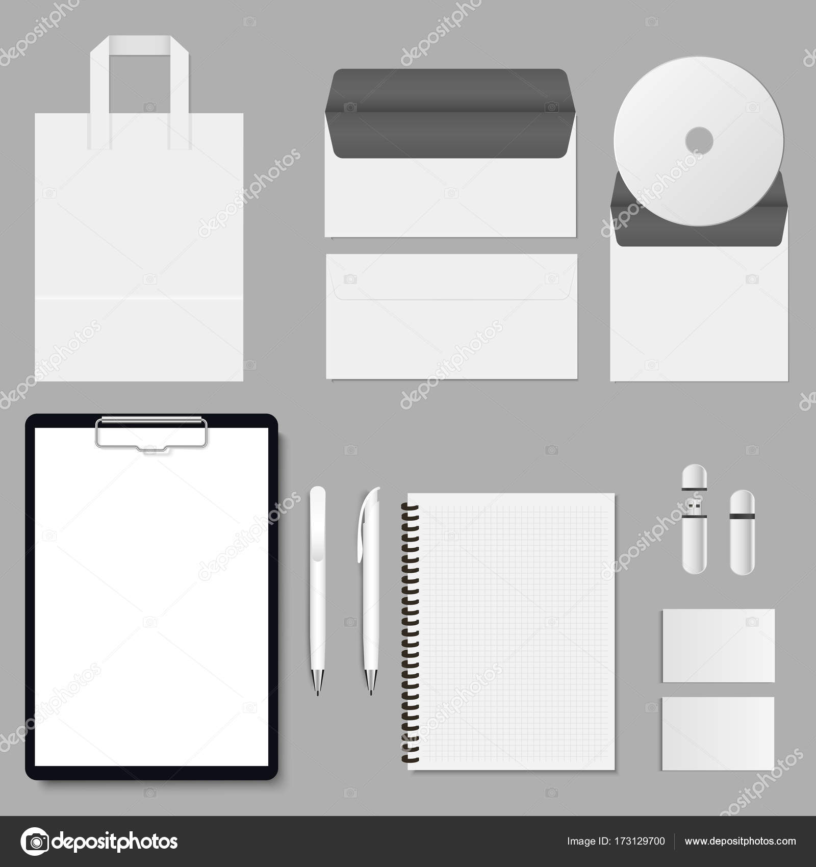vector corporate mock up set items with the clipboard folder cover