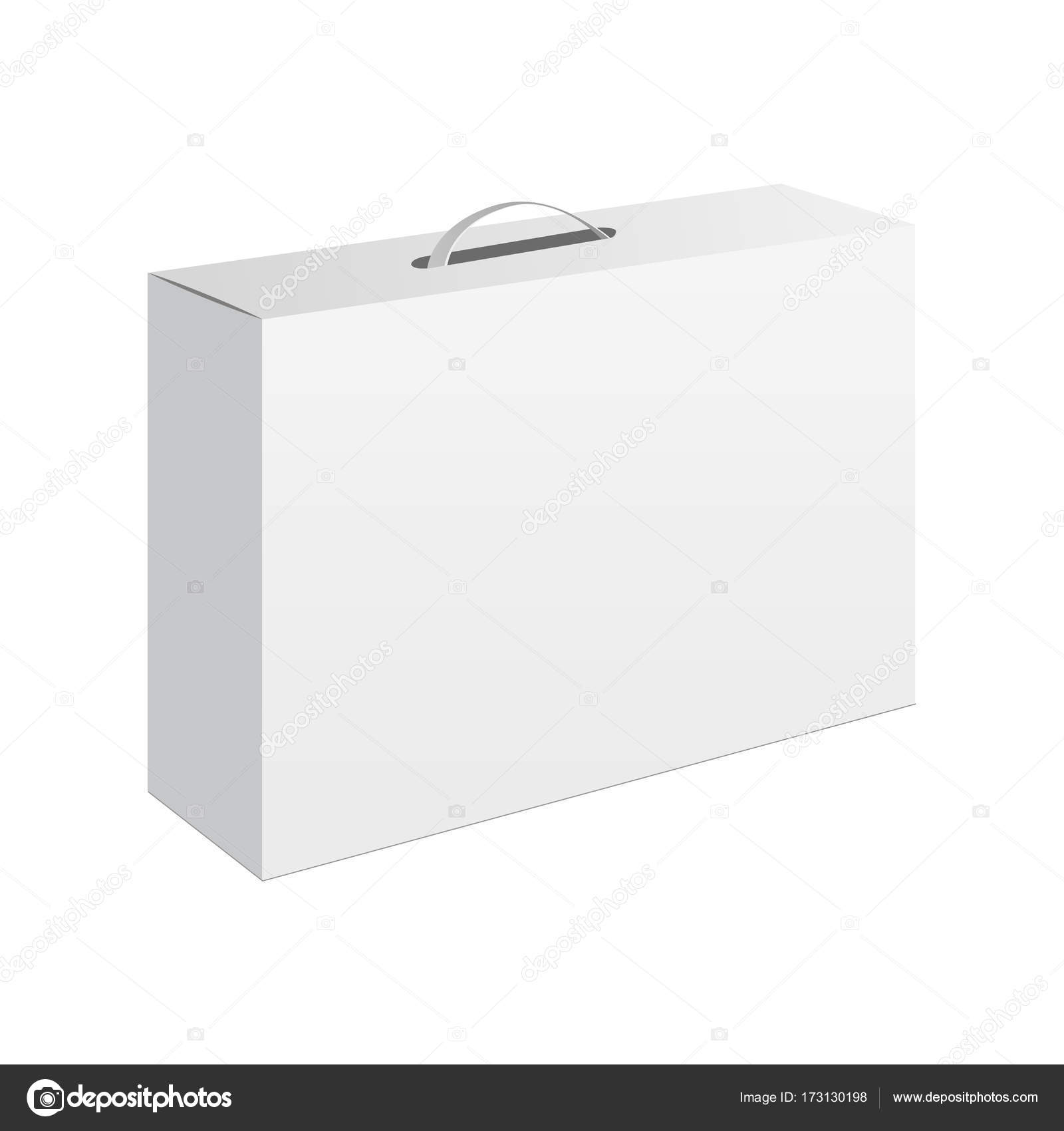 Light realistic package cardboard box with a handle  Vector