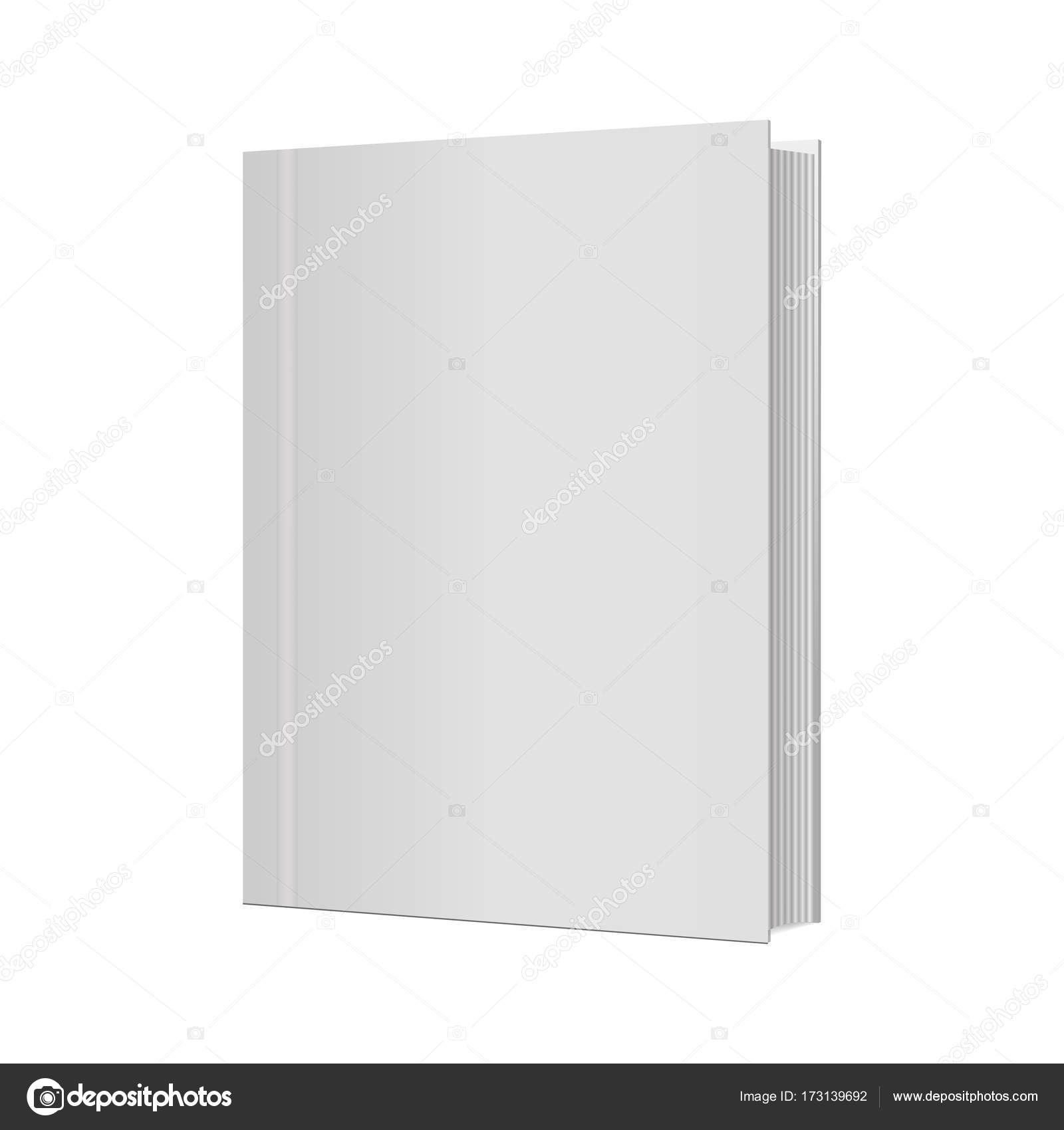 Blank vertical book cover template with pages . Vector illustration ...