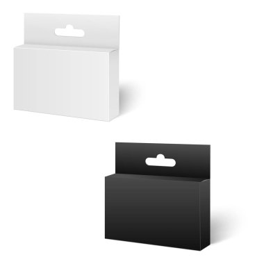Realistic white and black Package Box. For Software, electronic device and other products. Vector illustration