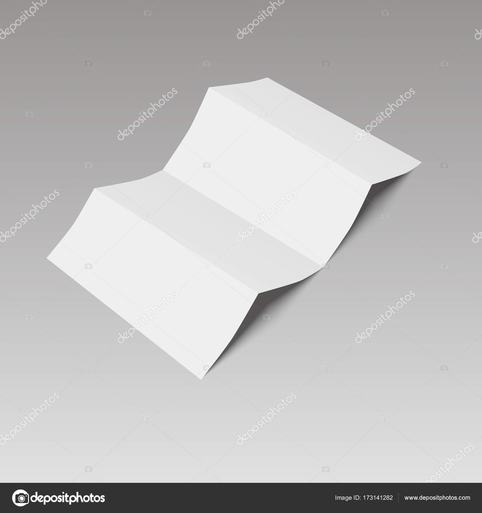 Leere vier Falten Falten Papier-Broschüre, Flyer, Broadsheet. Vektor ...