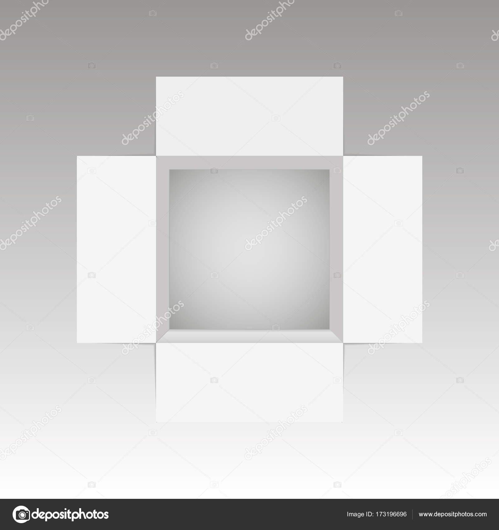 Top View Of Open Box Mockup Template Vector Illustration Stock
