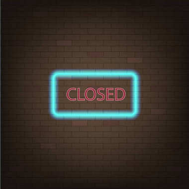 Neon sign with the word closed on a brick wall. Stock vector illustration