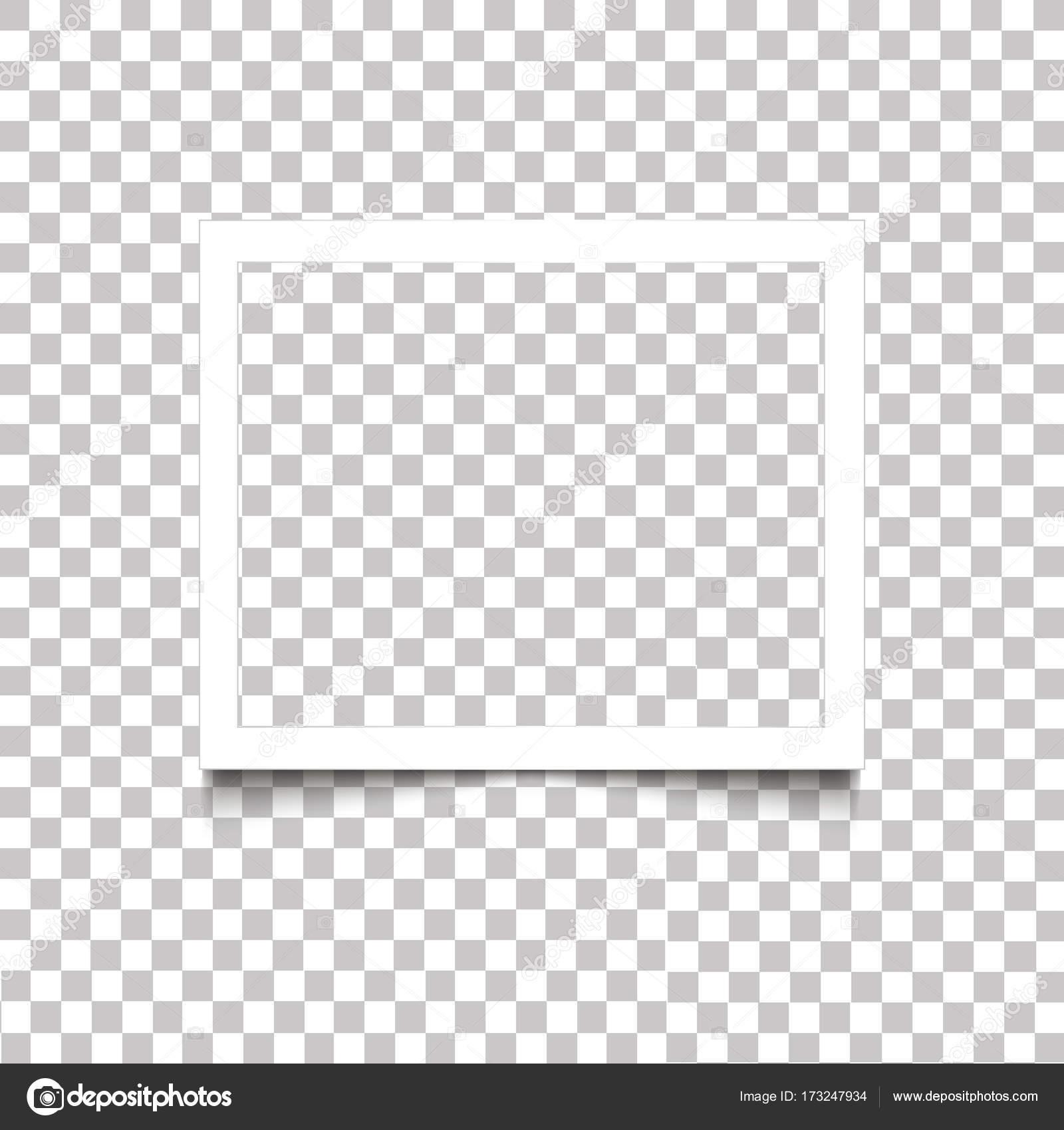 Realistic blank white photo frame with shadow on transparent ...