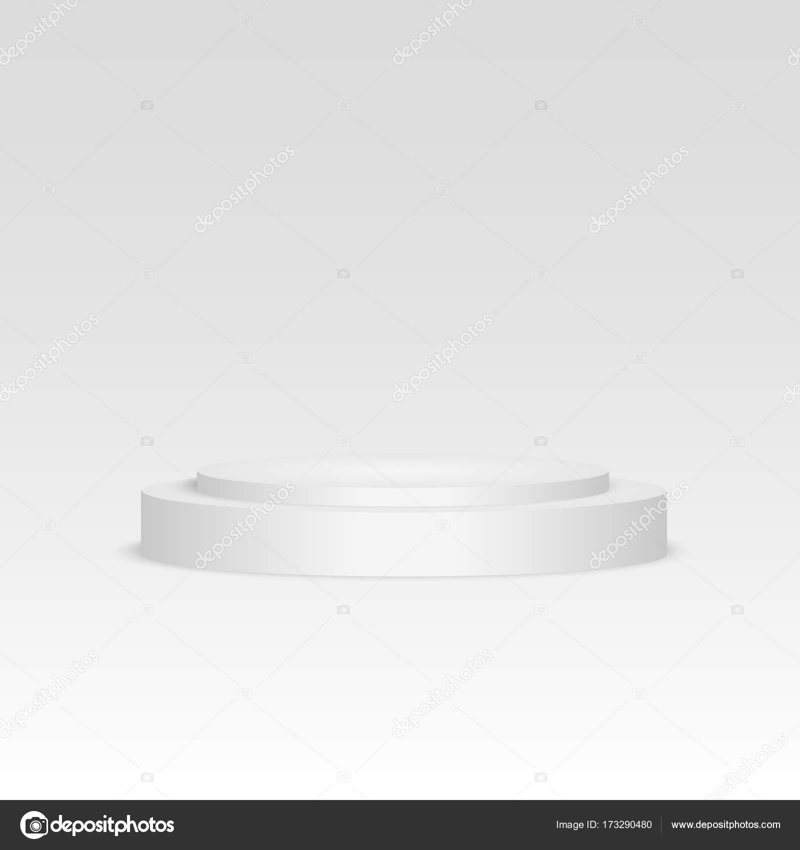 Leere Vorlage des weißen Podium Szene. 3D Darstellung der leeren ...