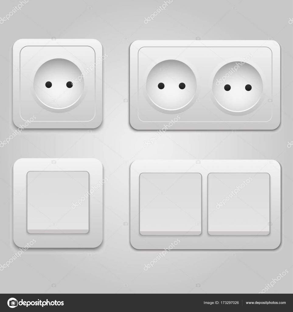 Moderne Vektor-Steckdose und Lichtschalter Symbol auf Hintergrund ...
