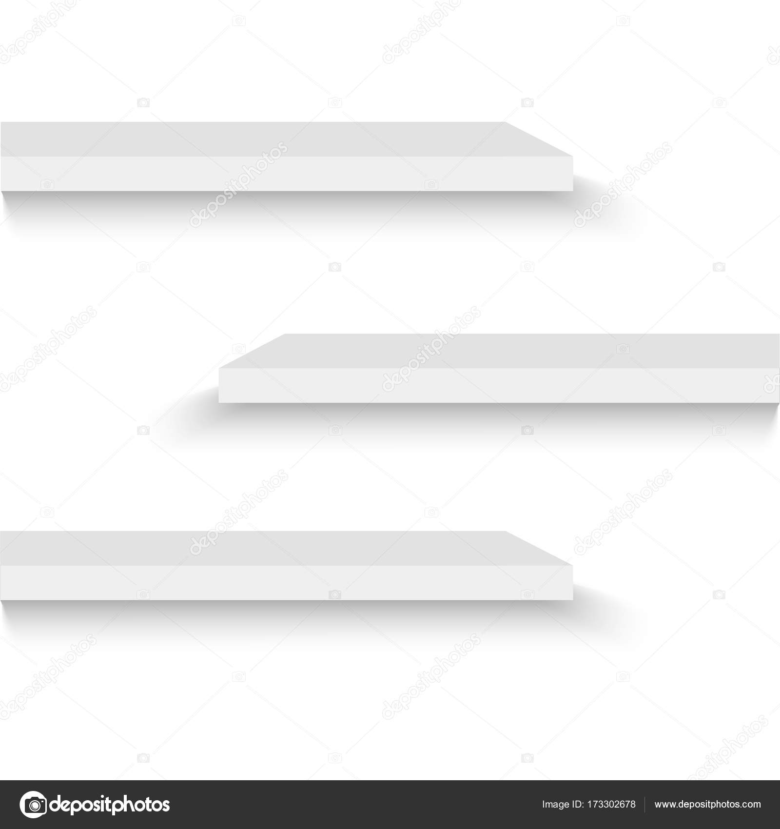 Empty white shop shelf, retail shelves, 3d store wall display vector