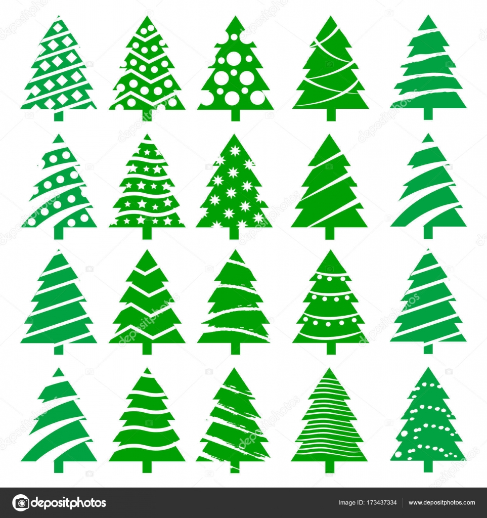 Set of different color Christmas trees. Vector — Stock Vector ...