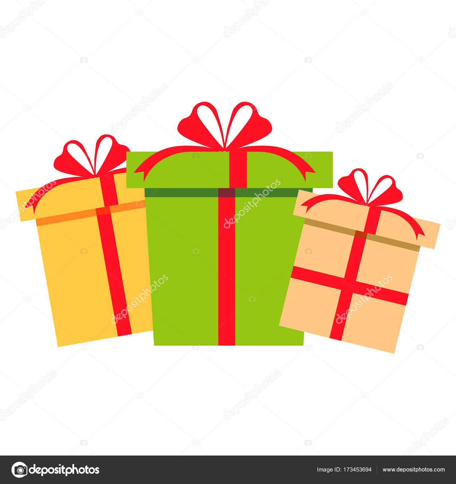 Geschenke-Boxen Design festgelegt. Geschenk-Box vorhanden, Band und ...