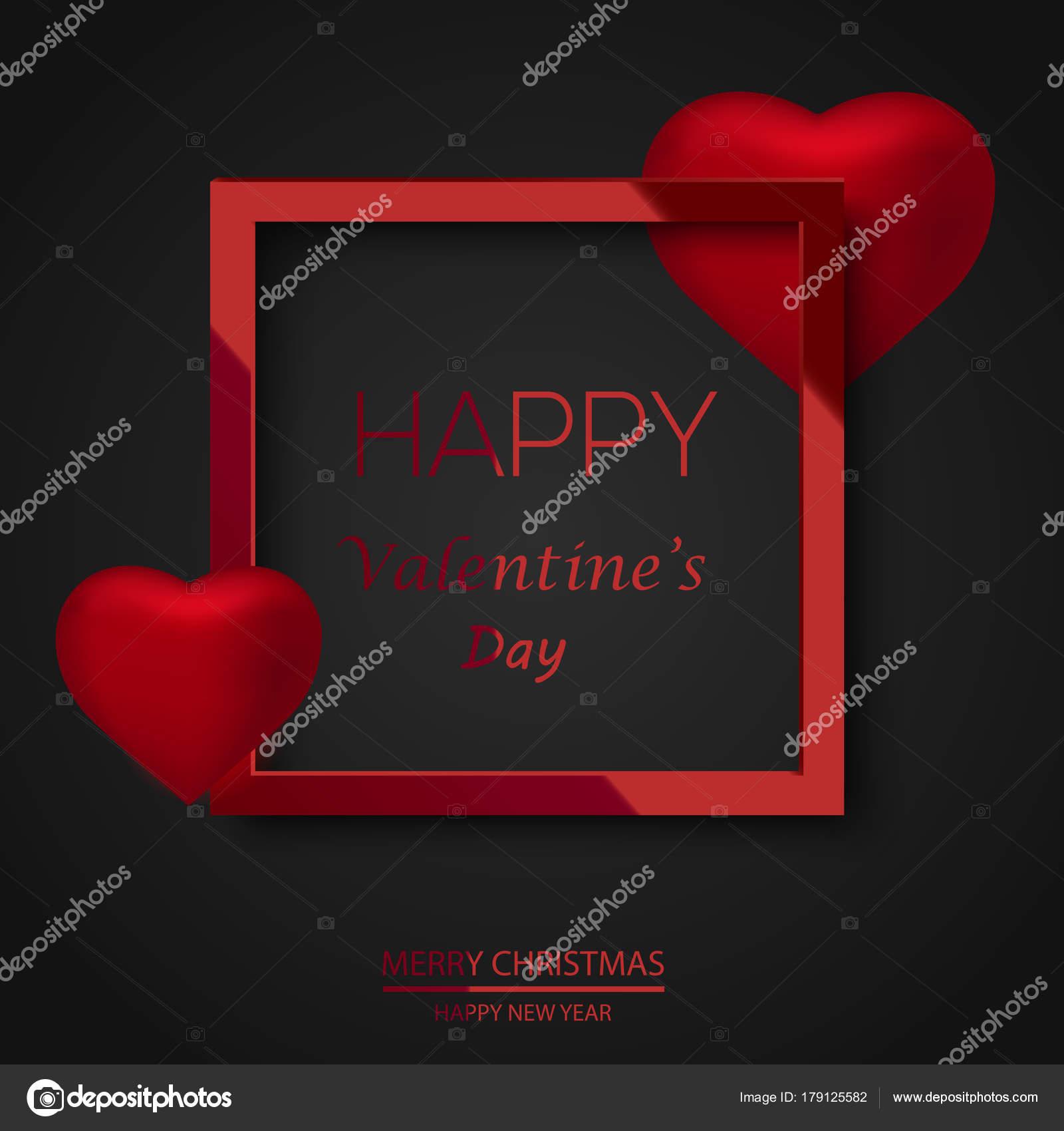 Tarjeta de felicitación día de San Valentín con marco cuadrado rojo ...