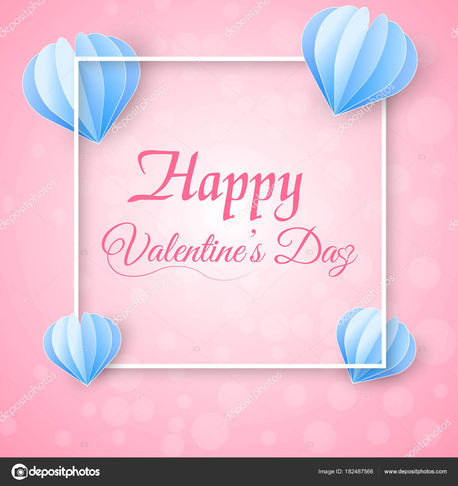 Valentines Day Greeting Card With Flying Paper Hearts And White
