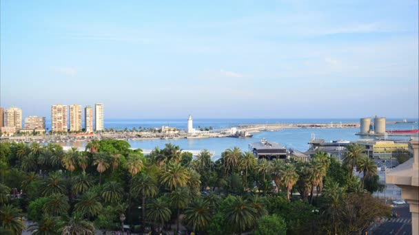 Malaga, spain. View of the port of Malaga from a terrace in the center. Timelapse