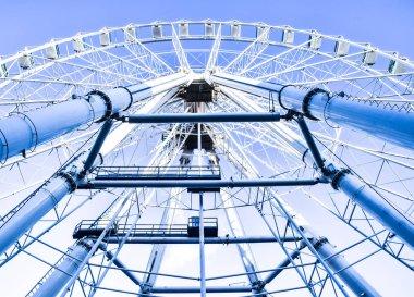 Ferris wheel in Malaga in blue tones