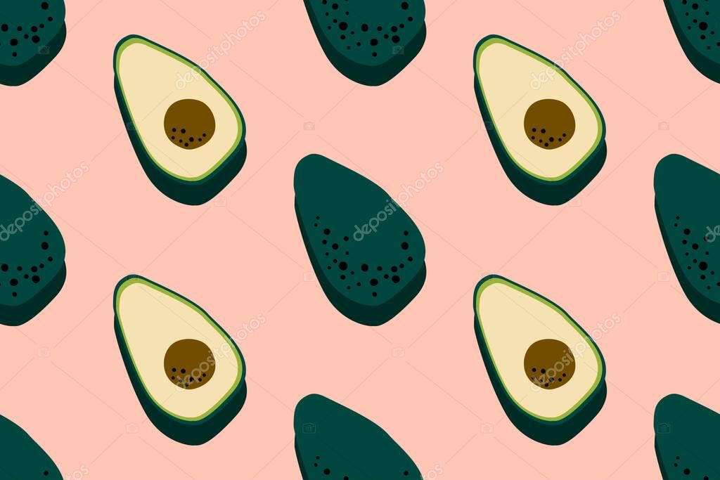 Avocado Pink Pattern Seamless Food Background Bright Kitchen Home Decor Or Healthy Eating Design Cartoon Flat Design Vector Illustration Premium Vector In Adobe Illustrator Ai Ai Format Encapsulated Postscript
