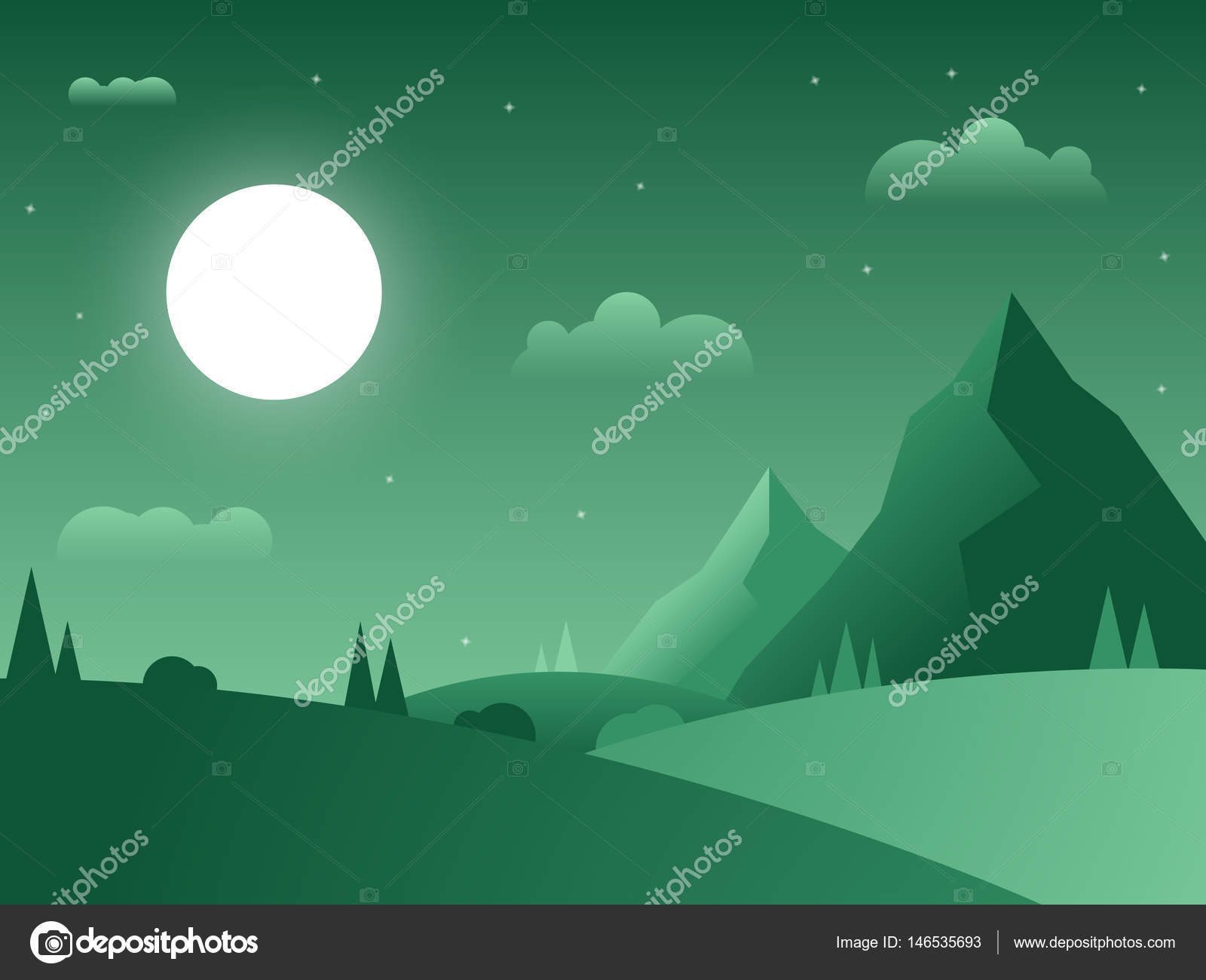 Great Wallpaper Night Grass - depositphotos_146535693-stock-illustration-night-flat-green-gradient-landscape  Collection-992765.jpg