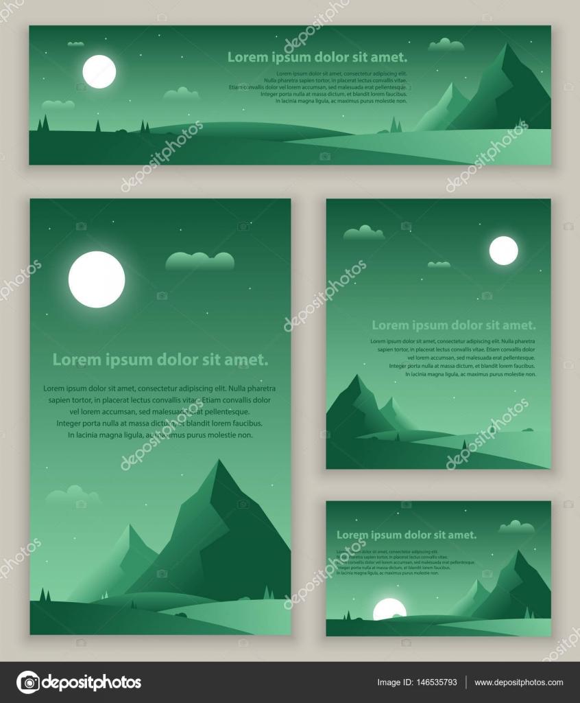 Set of night flat green gradient landscapes. Vector templates design ...